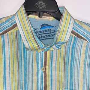 Tommy Bahama Relax Striped 100% Linen Button Shirt